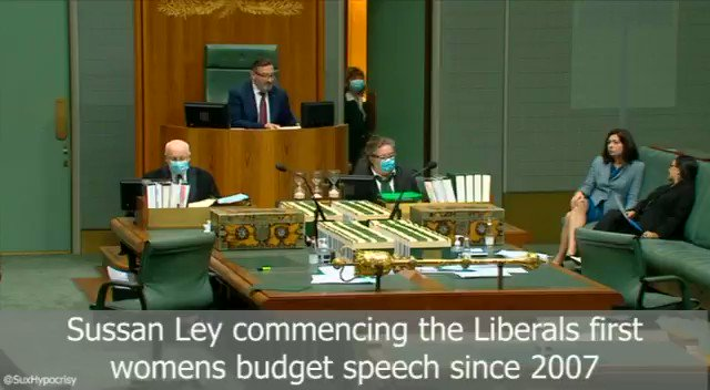 HOW LONG DID RESPECT LAST? @sussanley gave the first women's budget speech for the Liberals since 2007. Full of all the right sentiments, respect, safe etc. When @tanya_plibersek got up to reply, Scott Morrison couldn't leave fast enough. #EnoughIsEnough