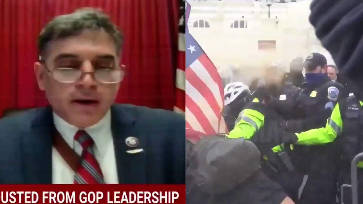 Rep. Andrew Clyde's (R-GA) comments today don't hold up well when played side-by-side with insurrection footage, so I made this.  the revisionist history being perpetuated by some Republicans to defend January 6th is disgusting https://t.co/bWdXtU0b4F