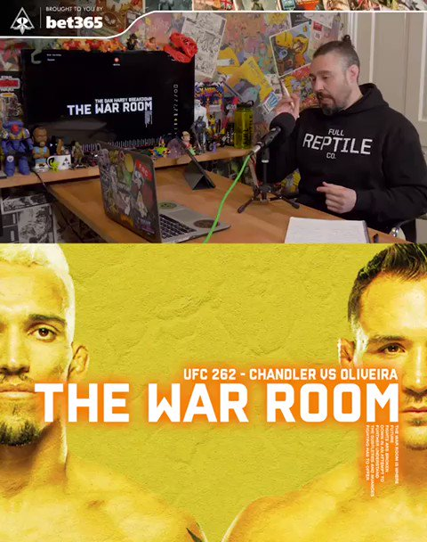 The War Room with @danhardymma  Check it out before #UFC262 #ChandlerVOliveria tomorrow.  https://t.co/TA84HkJmOc https://t.co/j2WAeuklnY