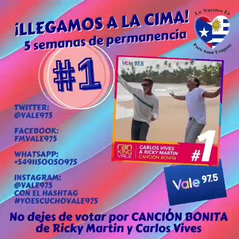 ¡LLEGAMOS A LA CIMA! Puesto #1 para #cancionbonita de @ricky_martin y @carlosvives en el #rankingvale de @Vale975 !!!!  @RMwebteam @inpulsemedia @SonyMusicUru @SonyMusicArg @SonyMusicLatina @lonuestrofc #rickymartin #ricky_martin #carlosvives #vale975