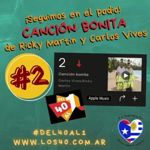 Seguimos en el podio! Puesto #2 para #cancionbonita de @ricky_martin y @carlosvives en el ranking #del40al1 de @Los40ar  @RMwebteam @inpulsemedia @SonyMusicUru @SonyMusicArg @SonyMusicLatina @lonuestrofc #rickymartin #ricky_martin #carlosvives #los40ar