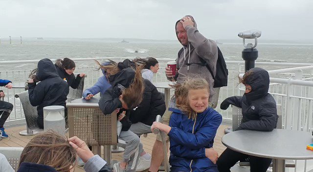 It was a tad windy on the ferry