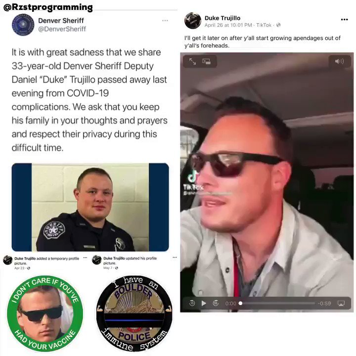 Denver Sheriff Deputy Duke Trujillo died from COVID-19.  Trujillo posted an anti-vaccine video and pics to his Facebook. https://t.co/okWwzUXSfl https://t.co/LIYfhkcnGG