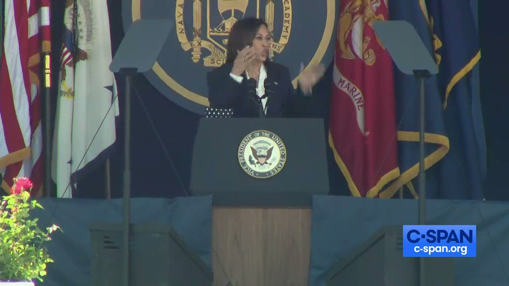 """🚨 CRINGE ALERT 🚨  Kamala Harris tells woke joke about a female Marine at the Navy Academy - IT BOMBS.  Cadets groan as Kamala cackles awkwardly alone onstage. Kamala also told the cadets to use """"wind energy"""" for """"combat power.""""  The Biden humiliation of our Military continues. https://t.co/rQghgIA6rM"""