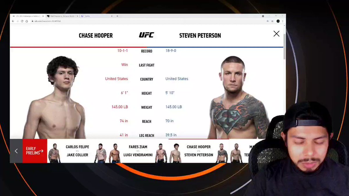New UFC prediction video. Link to YouTube in bio. Please don't get hit Chase Hooper. #ufc #ufcpredictions #ufc263 https://t.co/1GHe92He00