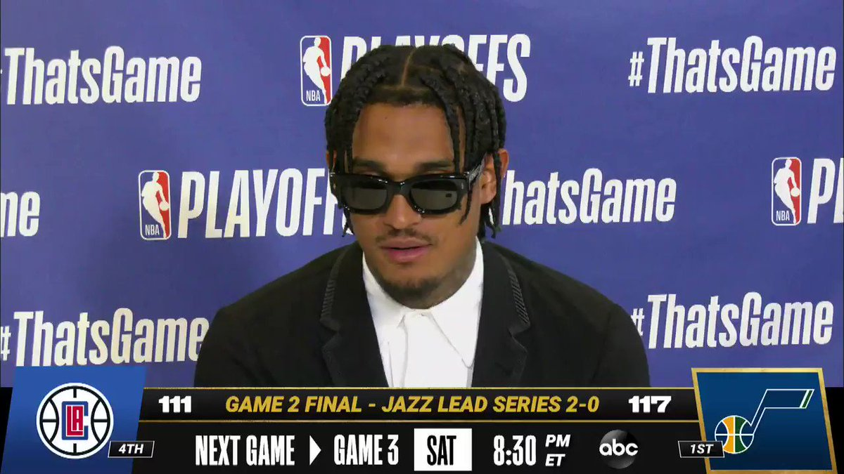 😎 @JordanClarksons on bringing his vibe to the @utahjazz. #ThatsGame   Game 3 - Sat, 8:30pm/et, ABC https://t.co/gfzkNGkbfO