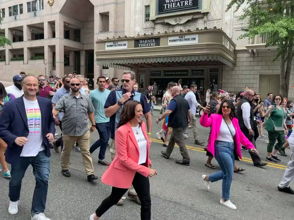 The @VP and @SecondGentleman are on the move at Capital Pride 🌈 https://t.co/F27RxDaoHJ