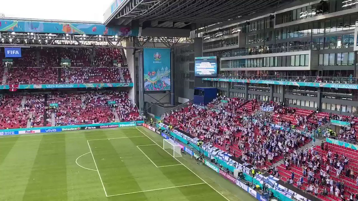 RT @robtdaly: Denmark and Finland fans sing the name of Christian Eriksen inside the Parken Stadium https://t.co/TZCxMZJRHE