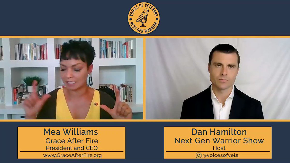 """A new episode of #NextGenWarrior is live. Mea Williams, Navy Veteran and CEO and President of @GraceAfterFireV joined Dan for a special episode. Today is #WomenVeteransDay and Mea has a message for women Veterans: """"You are not alone"""". https://t.co/EQSZKtrj9q"""
