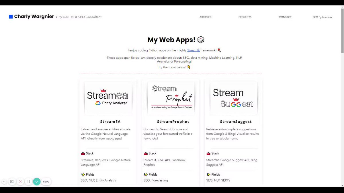 Today I had fun revamping my web apps portfolio! 🎉  👉 https://t.co/BtmsAIN21h 👈  My apps are 100% #Python, spanning topics I'm passionate about:  ✅ #SEO ✅ #MachineLearning ✅ #NLP ✅ #Analytics ✅ #Forecasting  Check them out! Your feedback is welcome! 🙌  h/t @streamlit 🎈 https://t.co/0q5HyC4GJp