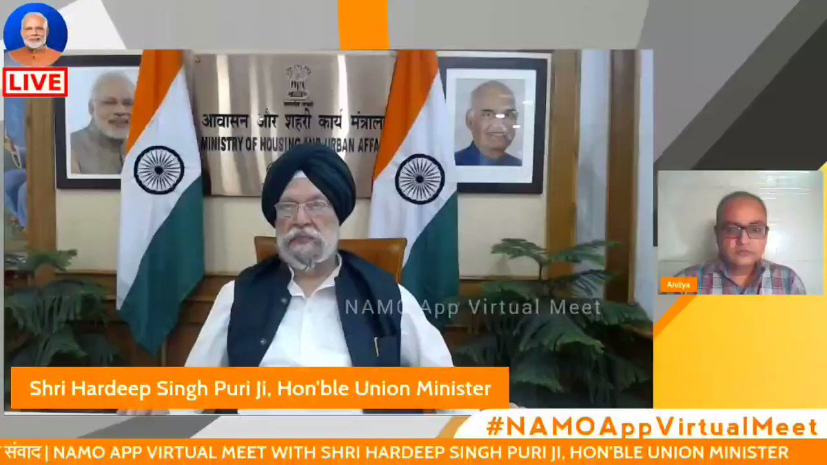 """""""Every year the Government spends about Rs. 7200 Crore in subsides to keep Air India running."""" - MoS Shri @HardeepSPuri Ji while stressing on the need to privatise Air India.  Watch full video- https://t.co/LoDWV8JrNz  @anityasrivastav @MoCA_GoI @airindiain #NAMOAppVirtualMeet https://t.co/NYdNj8aIjg"""