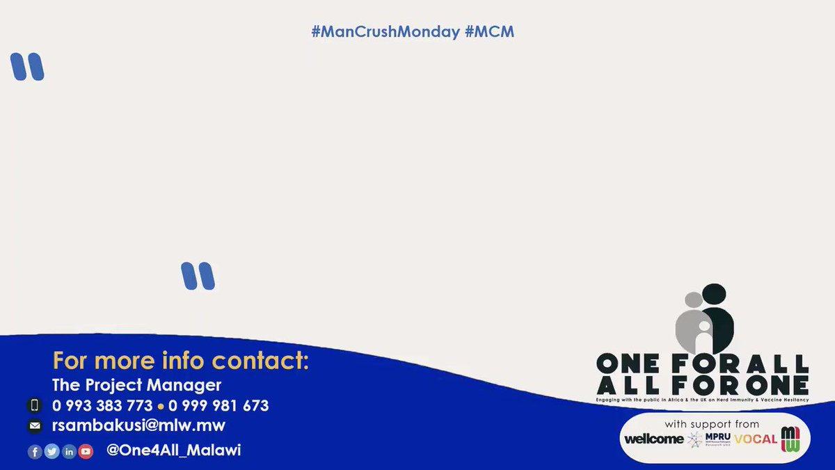 Its Man-day. Today our #ManCrushMonday is HSA Lameck Zidana of Chileka in #Malawi's commercial capital, #Blantyre. Watch&Share @wellcometrust @NIHR_MPRU @letsgetvocal @MlwTrust #Vaccination #HerdImmunity @RodSambakunsi @kjambo @RHeyderman @bellastarling @MalawiUNICEF @WHO https://t.co/KOFha9p2Gg