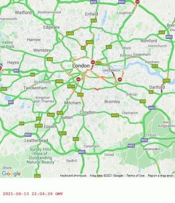 World Traffic Map 24 hour animation timelapse of London, England traffic 2021-JUN-14 from 4PM to 10PM. What traffic map do you want to see? #GoogleMaps #london #traffic #patterns #livetraffic #congestion #maps #24hours #day https://t.co/CUBGnapCV6