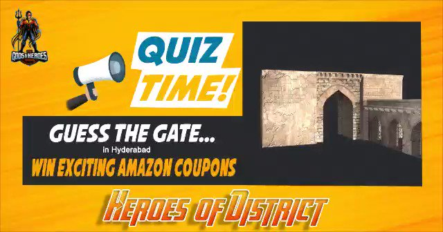 Quiz Time --- Guess the ancient gate in Hyderabad (India) and win exciting Amazon coupons worth INR 500. Answer will be announced on coming Sunday at 4 PM and the winners too. Stay tuned and follow us on our social media for more quiz questions every Tuesday. #thegodsandheroes https://t.co/yDq9rhPfIG