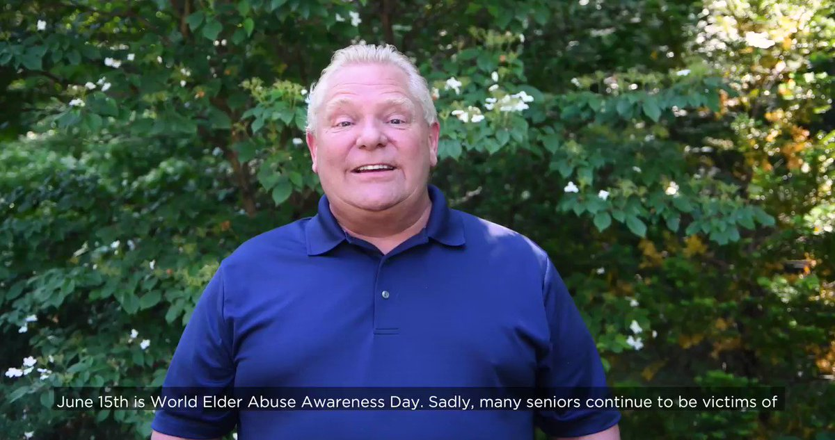 June 15 is #WorldElderAbuseAwarenessDay. Too many #seniors continue to be victims of physical, emotional & physical abuse. This has no place in Ontario.  Let's come together to show our support for Ontario's cherished seniors who helped build our great province. #WEAAD2021 https://t.co/mr0ymvi1DX