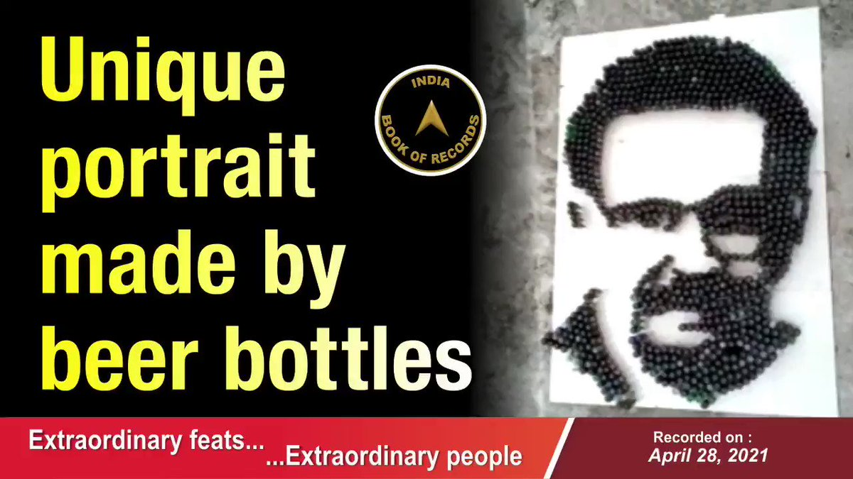 Vimal Kumar PV paid tribute to the famous singer S. P. Balasubrahmanyam by making his portrait (measuring 14 ft. x 10 ft.) using 1,030 beer bottles.  #indiabookofrecords #records #recordholders #unique #portrait #beerbottles #singer #spbalasubrahmanyam #kannur #kerala https://t.co/odkYUZy219