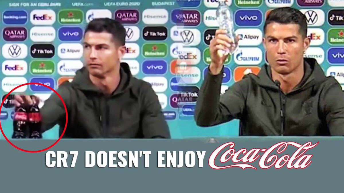 #Watch |Shortly after Portuguese soccer star #CristianoRonaldo slid 2 @CocaCola bottles away from him during a press conference,at least $4B was wiped off the soft drink company's market value, a/c to data from stock market research platform,Macrotrends  #ronaldococacola #INVideo https://t.co/JEDgW84J8J