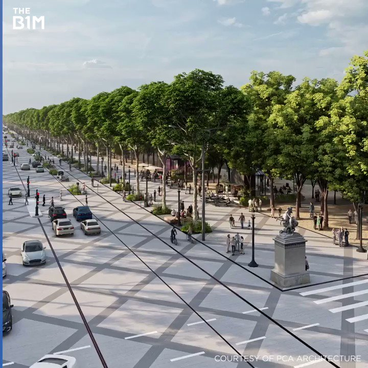 """Paris is investing £225m to transform the iconic but car-choked Champs-Élysées boulevard into an """"extraordinary garden."""" Among other things, 140K on-street parking spaces will be removed. Bold city-building leadership from @Anne_Hidalgo & team. Via @TheB1M https://t.co/OWycyRTRRa"""