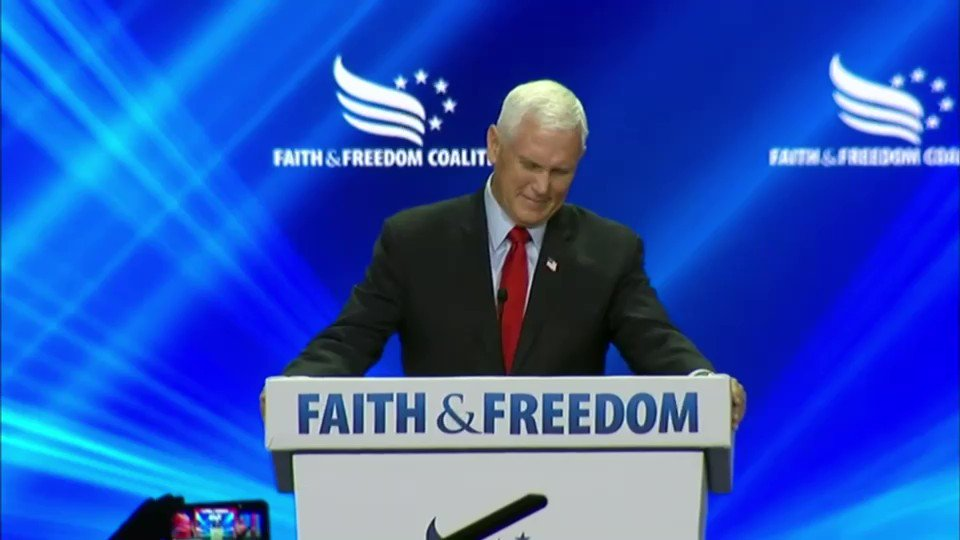 """Pence gets drowned out by hecklers at the Faith & Freedom Coalition summit, some of whom appear to be chanting """"traitor!"""" https://t.co/pAQxavsK3O"""