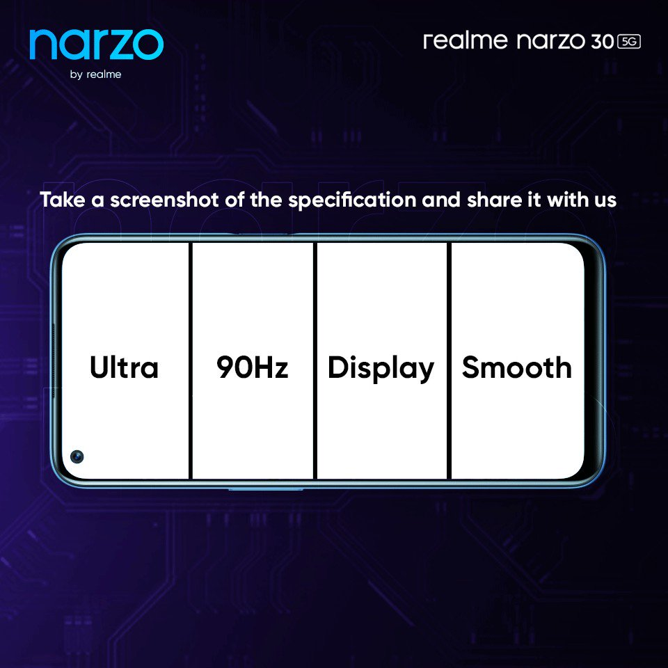 The #realmeNarzo305G flaunts a world-class Display.  Take a screenshot of the correct specification and share it in the replies using #UnleashPeakPerformance and stand a chance to #win a realme narzo 30 5G Smartphone.   #Contest https://t.co/leveRILzA4