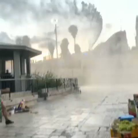 One of Al-Aqsa gates being sprayed with sewage by Israeli forces! #PALESTINE https://t.co/GTUfKcOl2t