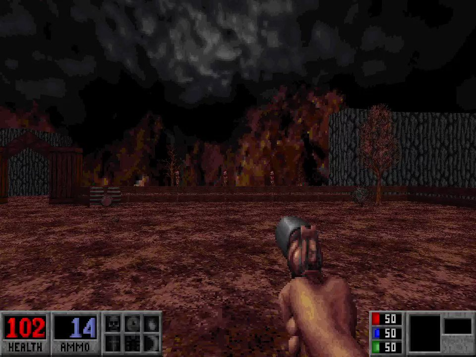 Made the timing more snappy on this encounter for Blood's Death Wish expansion. I like making the explosion slightly larger for every big update.🤫  #screenshotsaturday #leveldesign #blood #FPS #boomershooter #retroFPS #buildengine #retrogaming https://t.co/UGsQFPeG4g