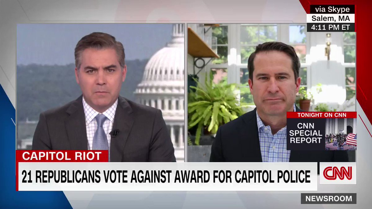 """Congressman @sethmoulton to us on GOP House members clinging to Jan 6 conspiracy theories and denying medals to Capitol cops: """"if you're aiding or abetting terrorists by your actions in congress you don't deserve to be a member."""" https://t.co/Sle91d45nr"""