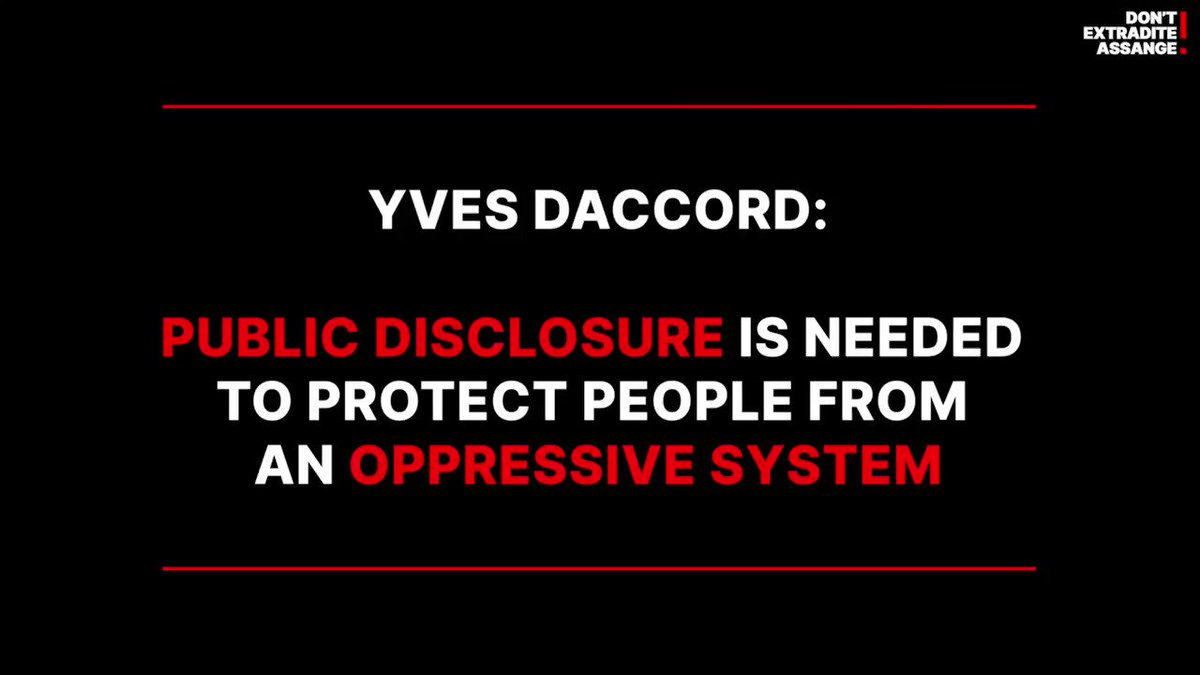 Public Disclosure is Needed to Protect People from an Oppressive System.  Listen to @DaccordYves during Geneva call to #FreeAssange here https://t.co/EukdHiUlRw #DropTheCharges #genevasummit2021 https://t.co/C4toanhGfl