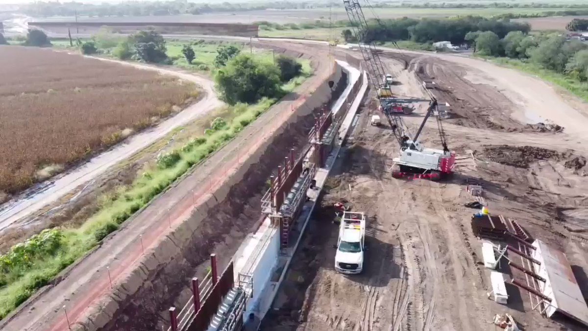 """Today @elevatetete, @sarahcruzz12, and I captured this footage of construction in the #RGV. Army Corps is saying these are just """"guardrails"""", but we didn't need this construction from the start, this looks like Bush-era levee wall.   Cred to @Scott_NicolTX for pointing this out. https://t.co/YVjibB9nxv"""