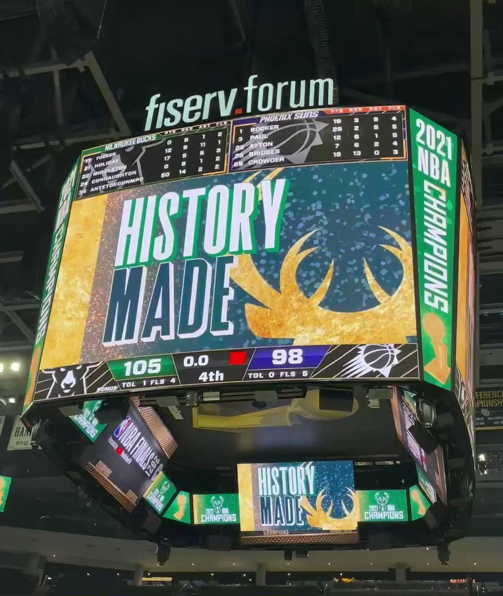 @WJHWInc would like to Congratulate the @Bucks for bringing the @NBA Championship back to Milwaukee after 50 years!! And of course @FiservForum you were looking good! 👌#FearTheDear #WeAreWJHW #Scoreboards #VideoProduction #SoundSystems https://t.co/rpRdpuJKm5
