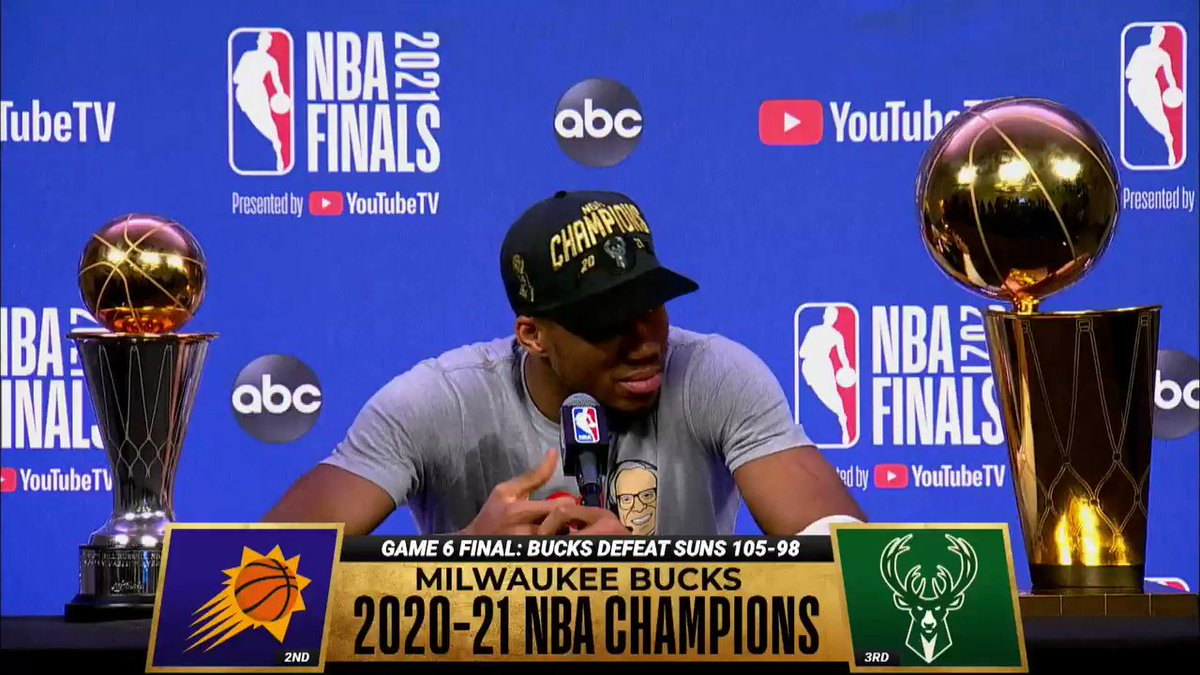 Giannis joked about requesting a trade after winning the title 😭 https://t.co/JVzxoESlVi
