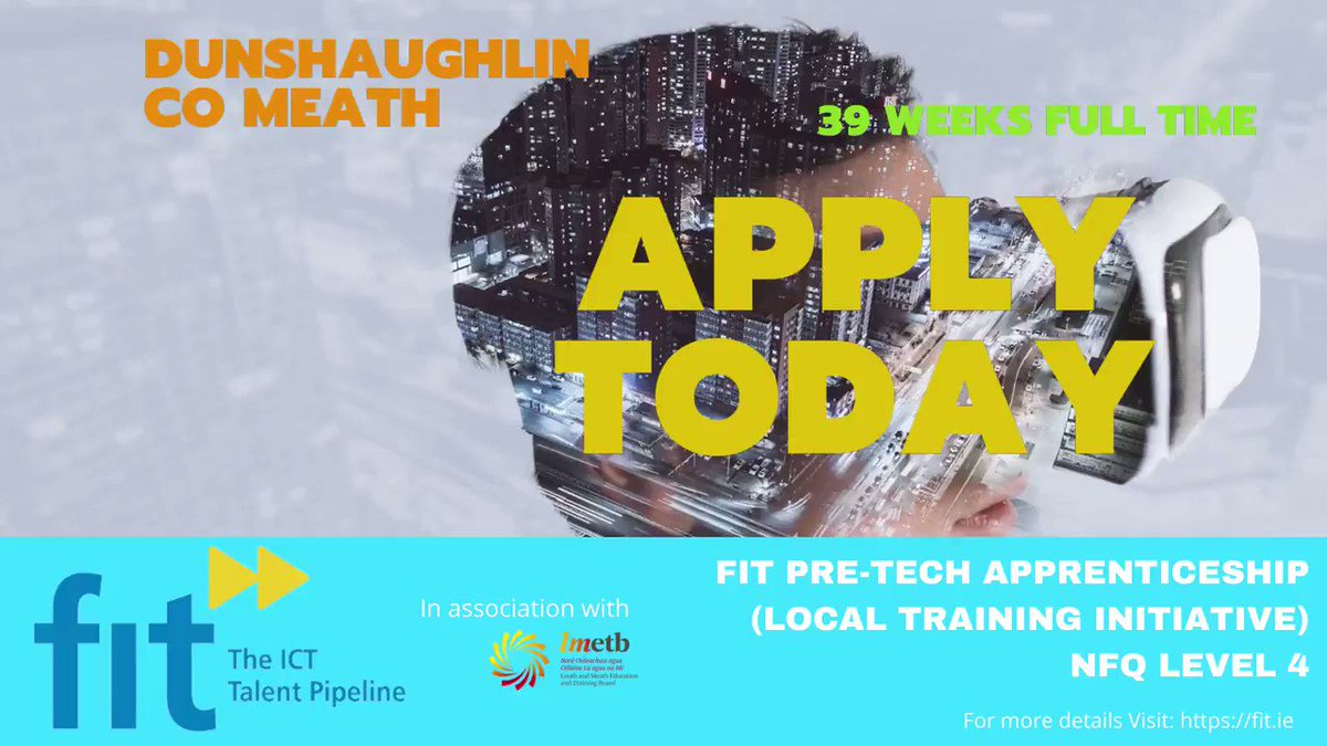 Check out FIT's Pre- Tech Apprenticeship starting in Dunshaughlin, Co.Meath September 2021  For more info or to apply visit: https://t.co/jbmUVAfRTd #apprenticeships #pretechapprentice #meath #LouthChat #upskill #techapprenticeship #TrainingandDevelopment @lmetbfet @FET_Ireland