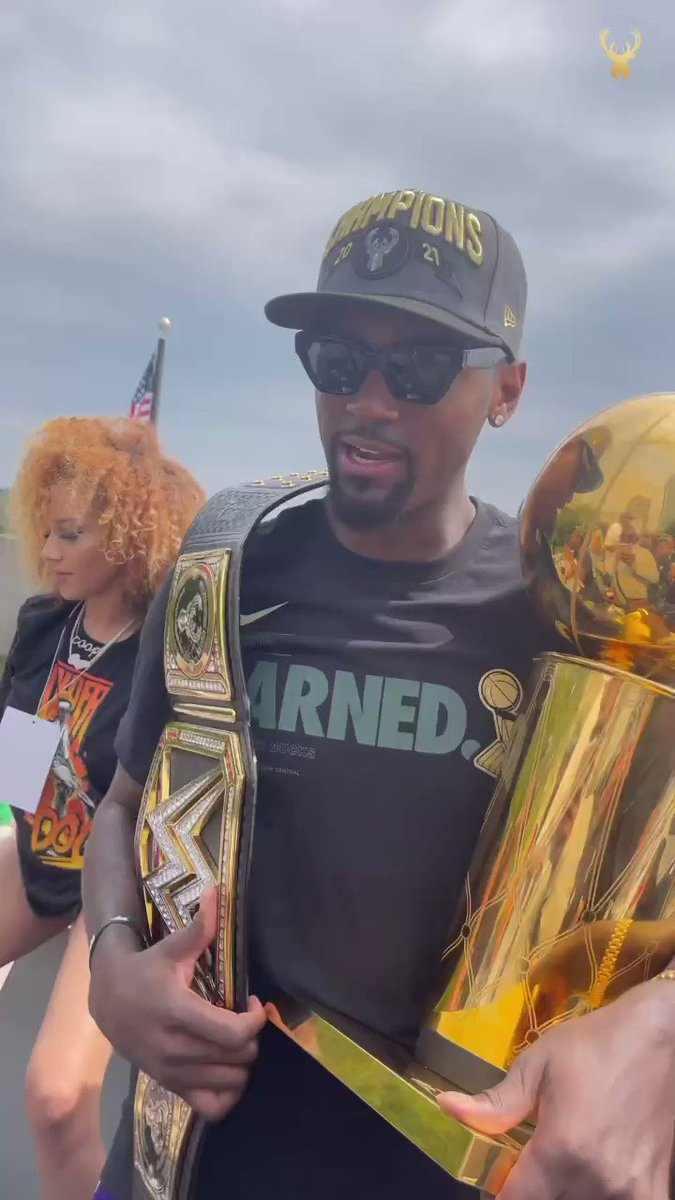 """""""Underdog to topdog""""  Bobby Portis with the championship belt 🔥  (via @Bucks) https://t.co/dh9drOrKpe"""