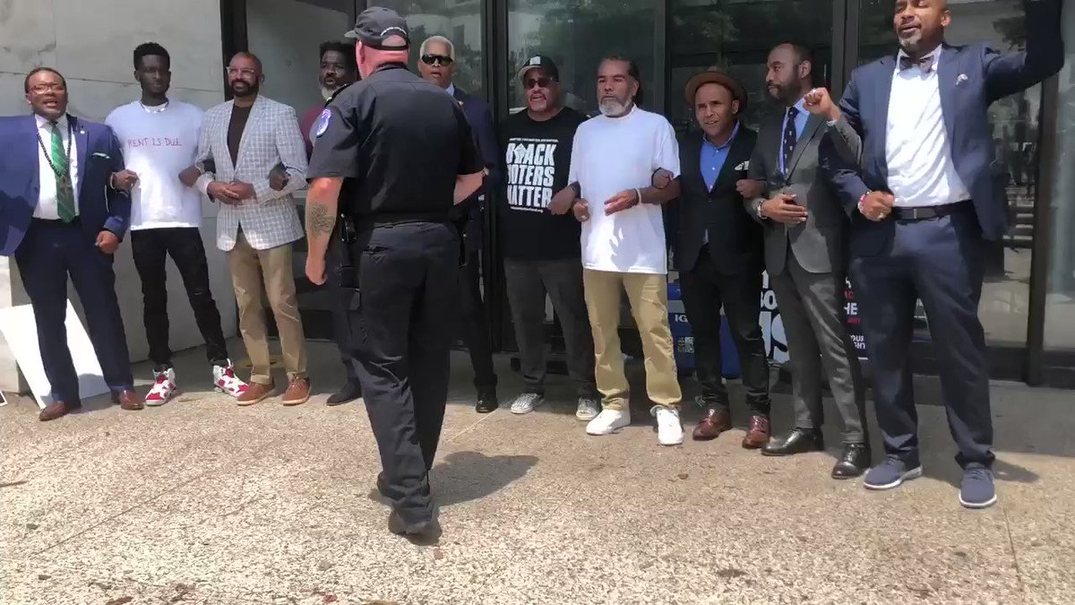"""RT! """"Hey hey. Ho ho. The filibuster has got to go.""""   These men, including US House Rep. Hank Johnson, were arrested shortly after this video was taken.  Thank you @RepHankJohnson & @NewGAProject for standing up for our #FreedomToVote.  #ForThePeopleNow    https://t.co/bum8NPCybG"""