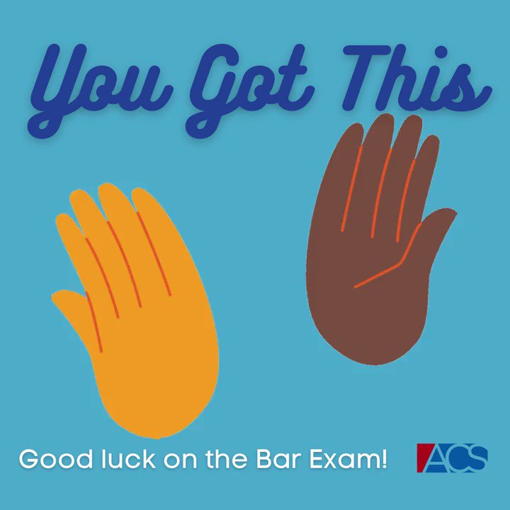 The bar exams start July 26. Join us in sending good luck wishes to the 800+ class of '21 grads and ACS Student Chapter leaders from law schools across the country. https://t.co/c7uyukcymj
