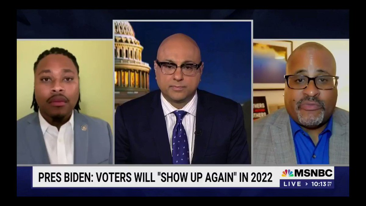 """""""We can't out organize that. We can't out litigate that. We need voting rights legislation. We can't on one hand say voting rights is sacred and on the other hand worship at alter of the filibuster. You can't worship two gods, [Joe Biden] got to pick a side."""" - @cliff_notes https://t.co/g4NkHS0nNx"""