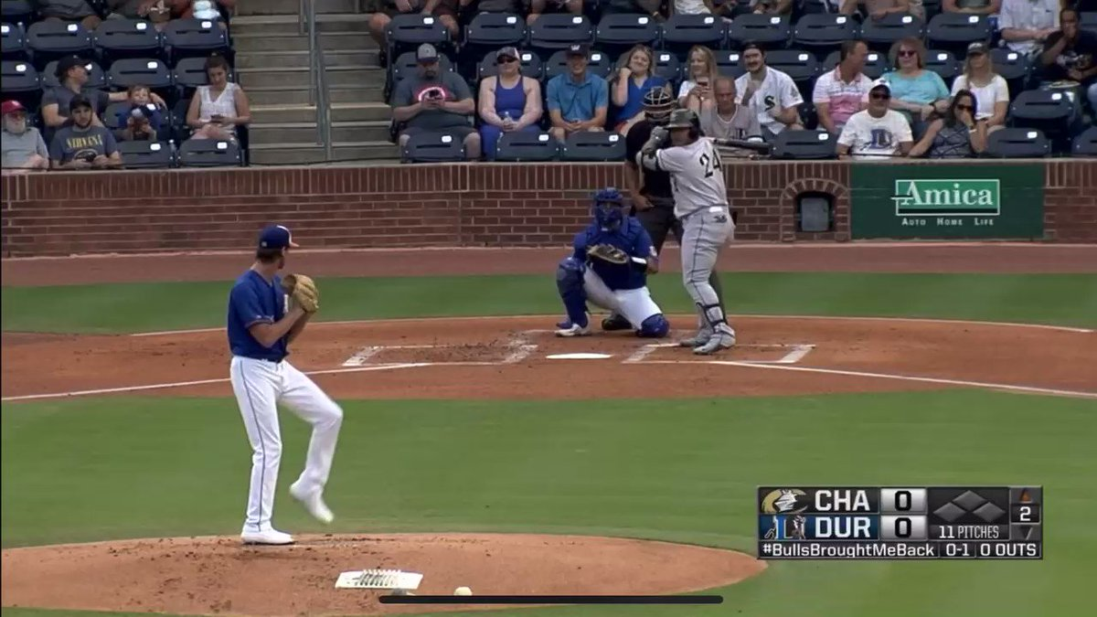WELCOME BACK YERMINATOR!!!   He CRUSHES this baseball to left center to give the Knights the early 1-0 lead in Durham!   #FunKnights | #Yerminator https://t.co/P0T6o6v1ZL