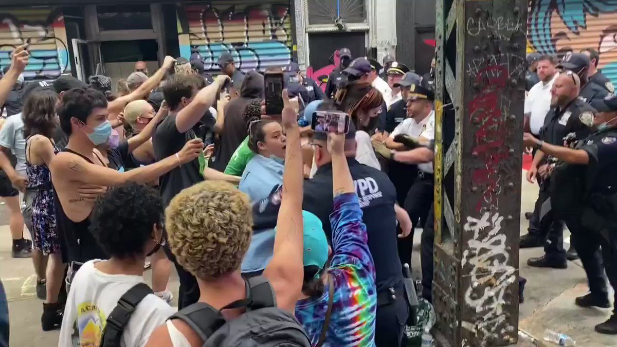 Today the NYPD's Strategic Response Group (SRG) brutally attacked activists offering mutual aid, as well as reps with @JuliaCarmel__.  The SRG are known to escalate nonviolent situations. Arrests and violence have no place at a community care event. https://t.co/aEAEwghxdA