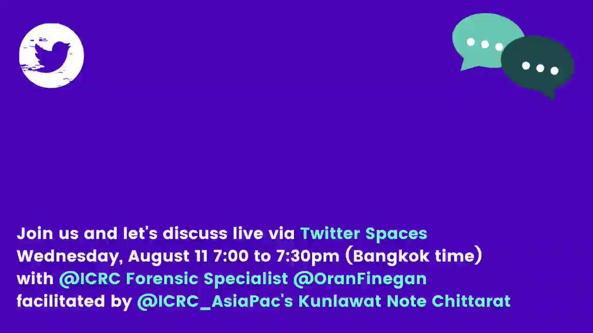 Dignity of the dead must always be ensured and protected.  Join us on @TwitterSpaces to discuss questions, worries, and guidance on COVID-19 and management of the dead.  Wed, Aug 11 7pm to 7:30pm (Bangkok) Send your thoughts and inquiries on the topic using #QforICRC_AsiaPac.