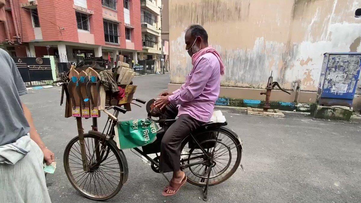 自転車を漕いで、包丁を研ぐインド方式!しかも90円!
