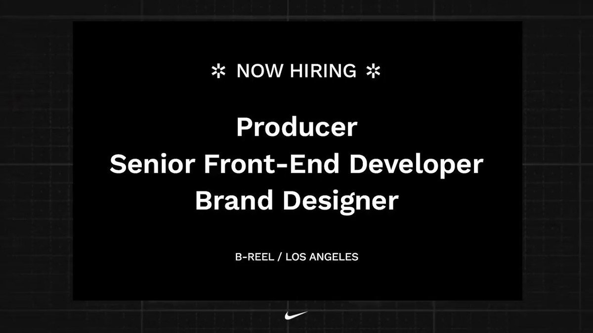 More roles are open at B-Reel! Our LA team is looking for experienced team members who are as passionate about the design and engineering of digital products as we are. Apply at https://t.co/mCivhkQSPX https://t.co/pCHjXcuURA