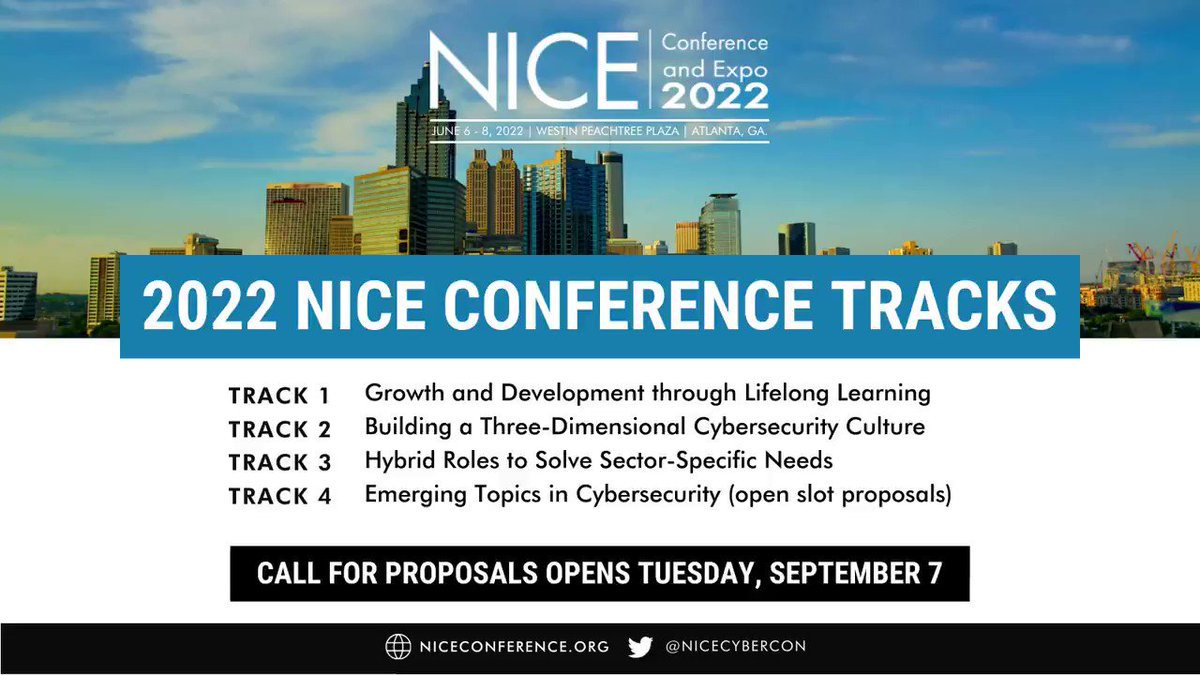 Image for the Tweet beginning: Our #NICECyberCon22 tracks promote collaboration