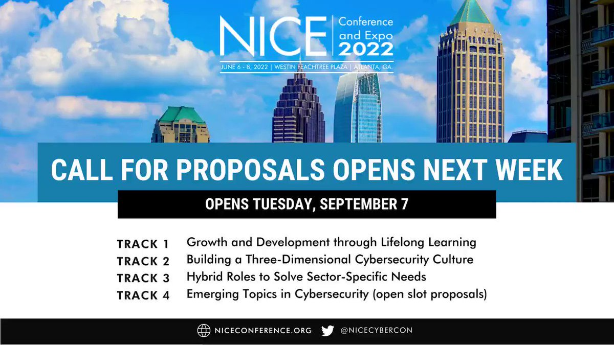 Image for the Tweet beginning: Our #NICECyberCon22 Call for Proposals