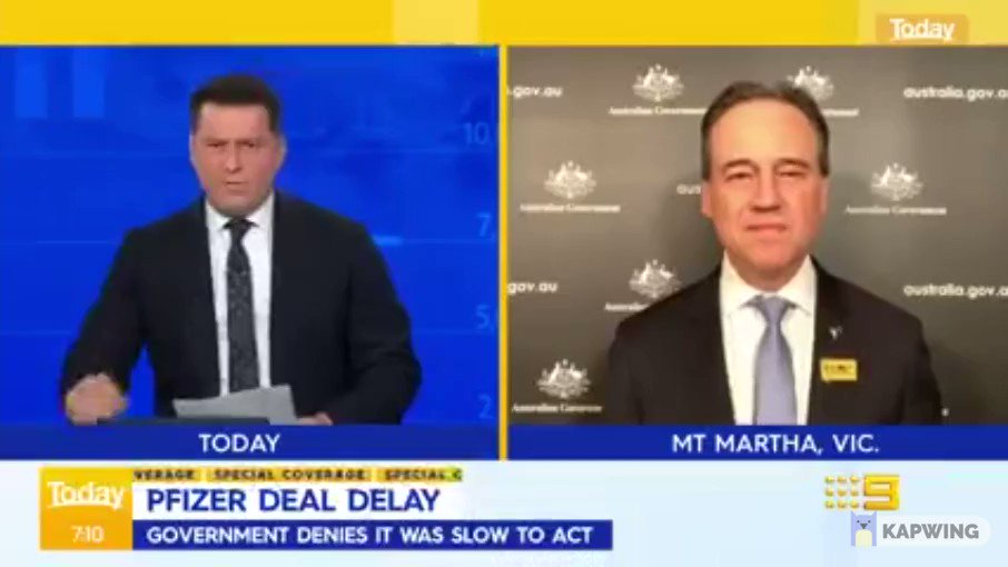 Greg Hunt cops a well-deserved roast for refusing to meet with Pfizer.  #auspol #covid19vic #covid19nsw https://t.co/1rhuiAscBR