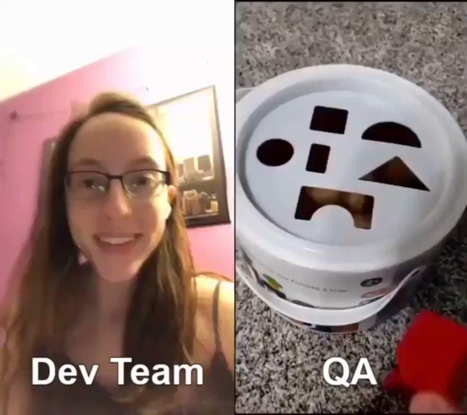 商品開発チームの苦悩がよく分かる動画。開発チーム(左) VS 品質テスター(右)