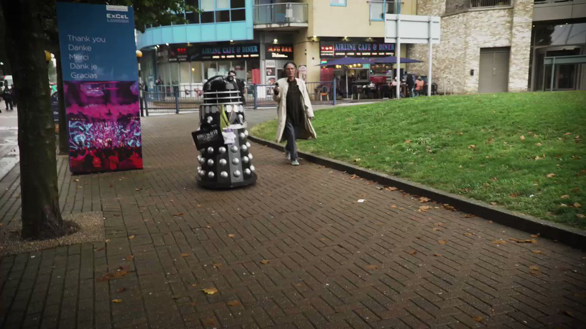 We must be doing something right if a Dalek wants to exterminate us for doing good work 😂😜 @alastairis @JohnPandit1 @StopTheArmsFair #StopDSEI