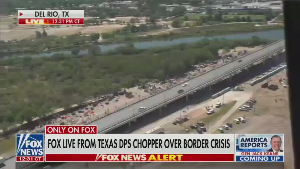 Absolutely stunning footage from Del Rio, Texas today that is a result of Joe Biden and Kamala Harris' open borders.  When I was on the ground there last night, I saw over 10,500 illegal aliens under the bridge. It is one of the most horrific things I've ever seen.