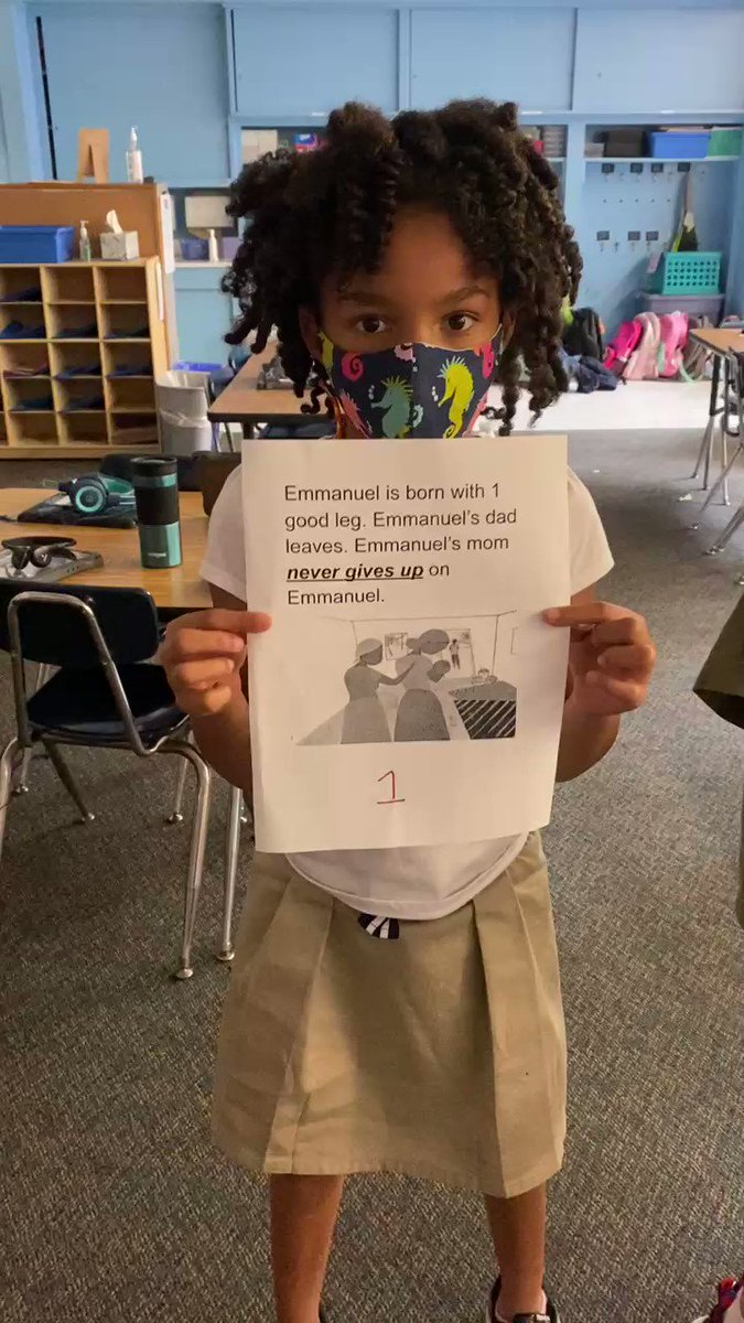 """Our class worked in small groups to retell the beginning, middle & end parts of our read aloud for the week, Emmanuel's Dream by <a target='_blank' href='http://twitter.com/LaurieThompson'>@LaurieThompson</a>. They agree that one theme is """"Never Give Up!"""" <a target='_blank' href='http://twitter.com/kwbgiglio'>@kwbgiglio</a> <a target='_blank' href='http://search.twitter.com/search?q=kwbpride'><a target='_blank' href='https://twitter.com/hashtag/kwbpride?src=hash'>#kwbpride</a></a> <a target='_blank' href='https://t.co/dKK6Cmge0a'>https://t.co/dKK6Cmge0a</a>"""