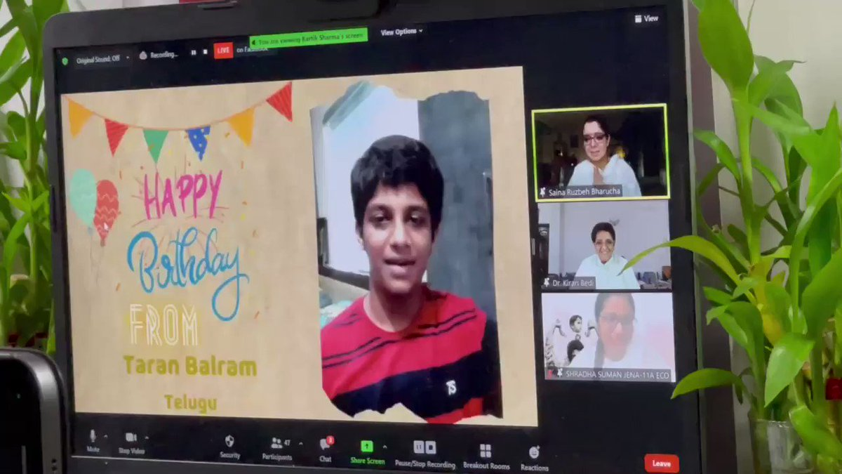 Happy birthday Greetings to @SainaRBharucha from the Friday Book Reading students with whom she spends some time every week. https://t.co/wcnsbY4lSS https://t.co/AqhPPOY03B