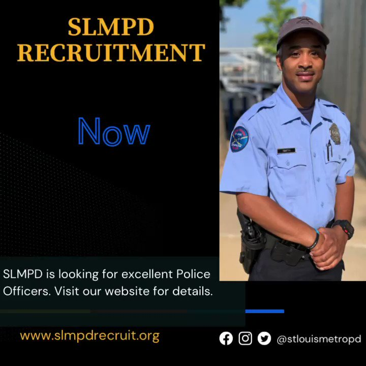 Image for the Tweet beginning: Apply today! #SLMPD is looking